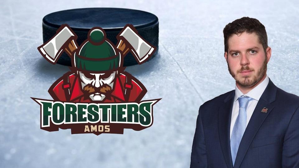 Un montage photo avec la photo d'un homme et le logo d'une équipe de hockey.