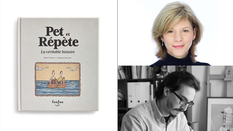 Montage photo du portrait des deux personnes avec la couverture de leur livre.