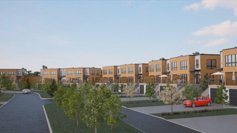 Schéma des maisons qui devaient être bâties à la Place de la source au début du projet.