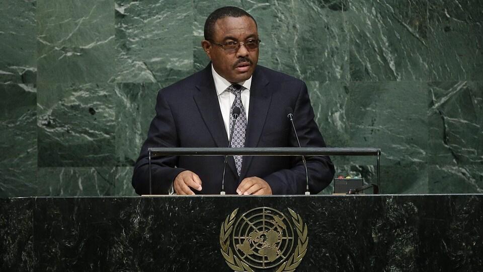 Hailemariam Desalegn au podium de l'assemblée générale de l'ONU.