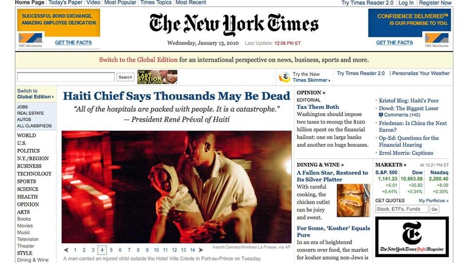 Une des photos d'Ivanoh Demers sur la une du site du New York Times.