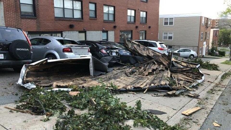 Des débris couchés sur des voitures garées le long d'une rue.