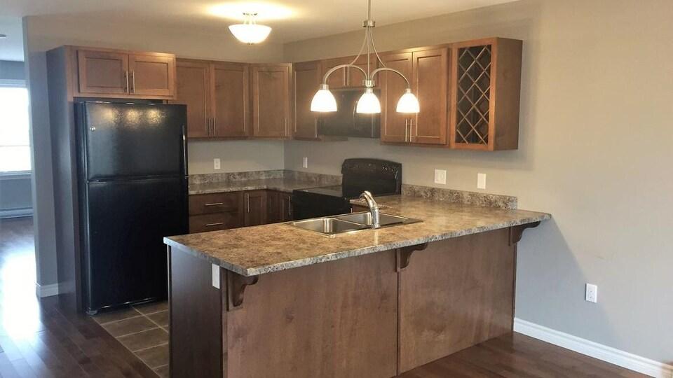Des armoires et comptoirs de cuisine en bois.