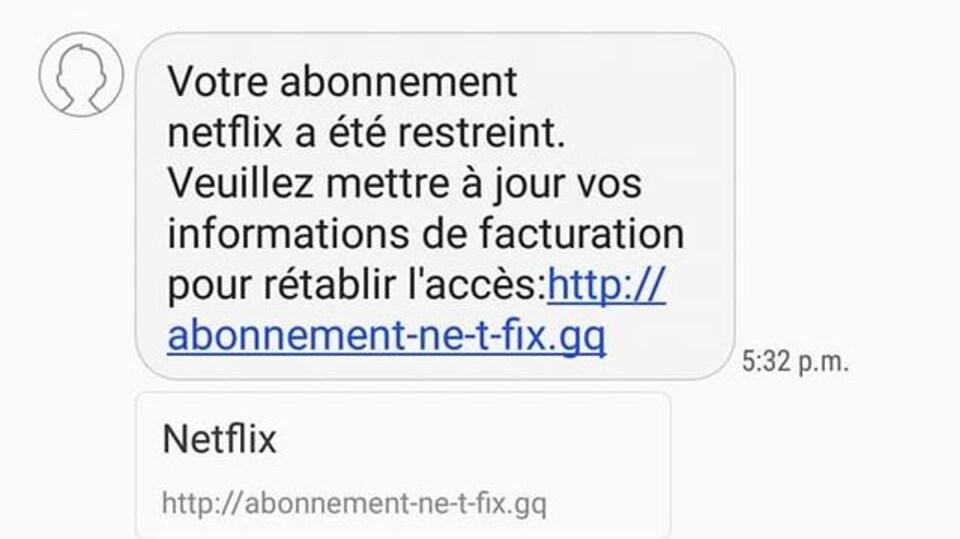Capture d'écran d'un texto demandant à l'utilisateur de mettre ses informations à jour