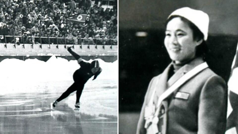 À gauche, une image de Han Pil-hwa qui patine. À droite, Han Pil-hwa lors de la remise des médailles.