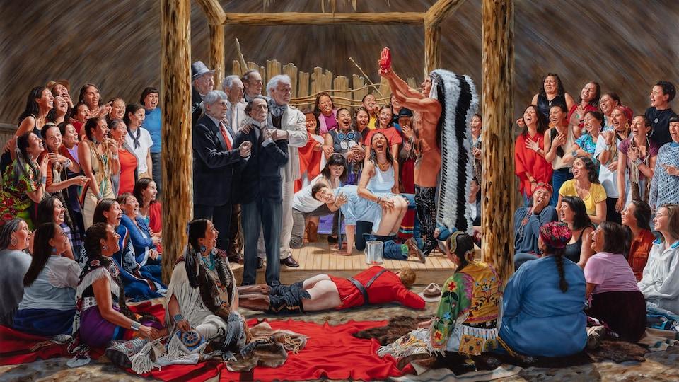La toile montre le personnage alter ego de l'artiste debout devant Justin Trudeau, qui lui est à quatre pattes et a les fesses dénudées dans l'attente d'une fessée. Il regarde le personnage en riant. La scène se déroule à l'intérieur d'une habitation autochtone,  devant d'anciens premiers ministres qui sont regroupés et semblent se soutenir. Un agent de la GRC est couché par terre, le pantalon baissé lui aussi. Tout autour, de nombreuses femmes autochtones regardent la scène en riant.