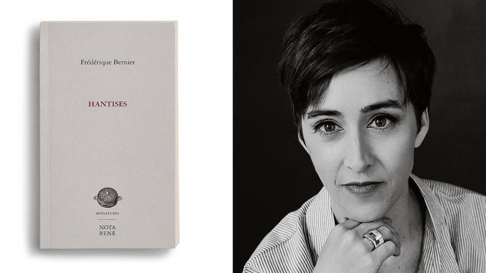 Montage photo de l'autrice et de la couverture de son livre.