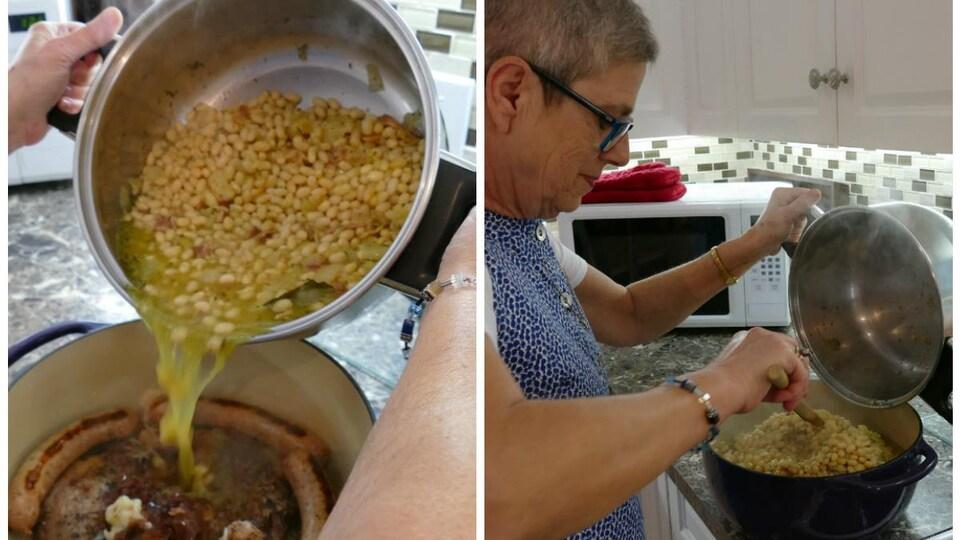 Colette verse les haricots et la sauce dans le creuset sur la viande.