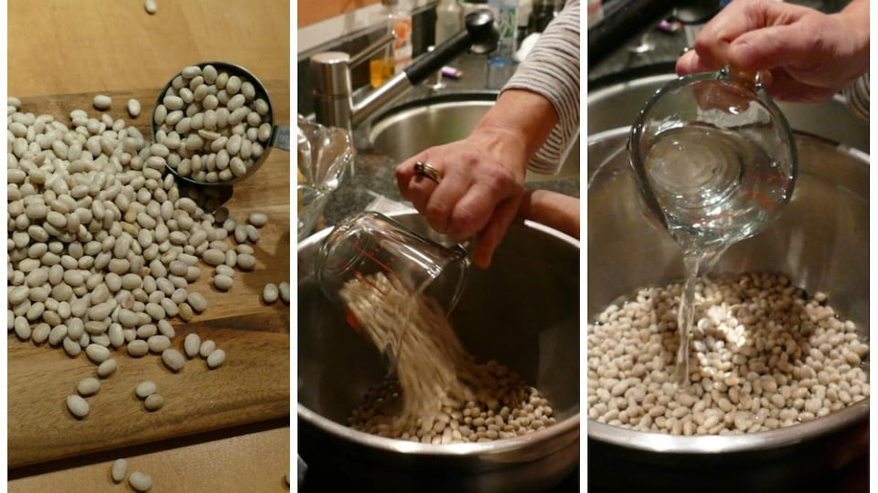 Dans un grand bol, Colette verse les haricots blancs et les recouvre d'eau