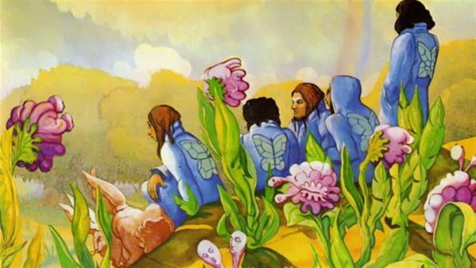 Cinq personnages colorés sont assis dans un décor champêtre psychédélique.