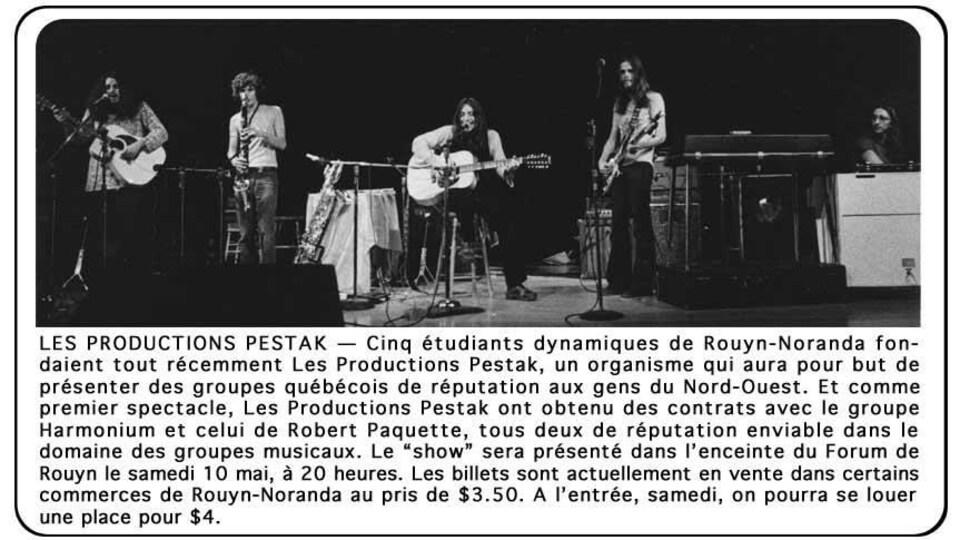 Une publicité précédant le spectacle d'Harmonium à Rouyn en 1975
