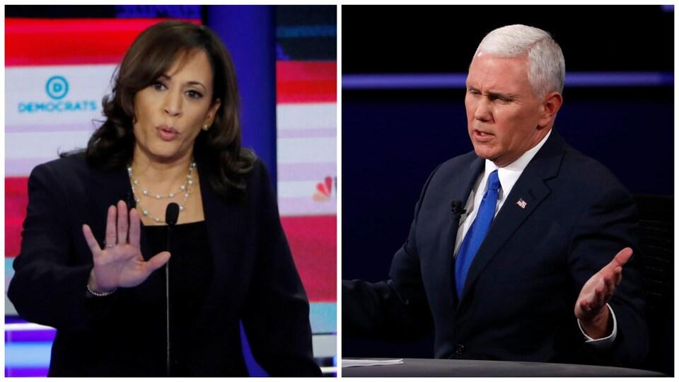 Photomontage de Kamala Harris, la main devant elle, et de Mike Pence, les bras ouverts, lors de débats précédents avec d'autres candidats