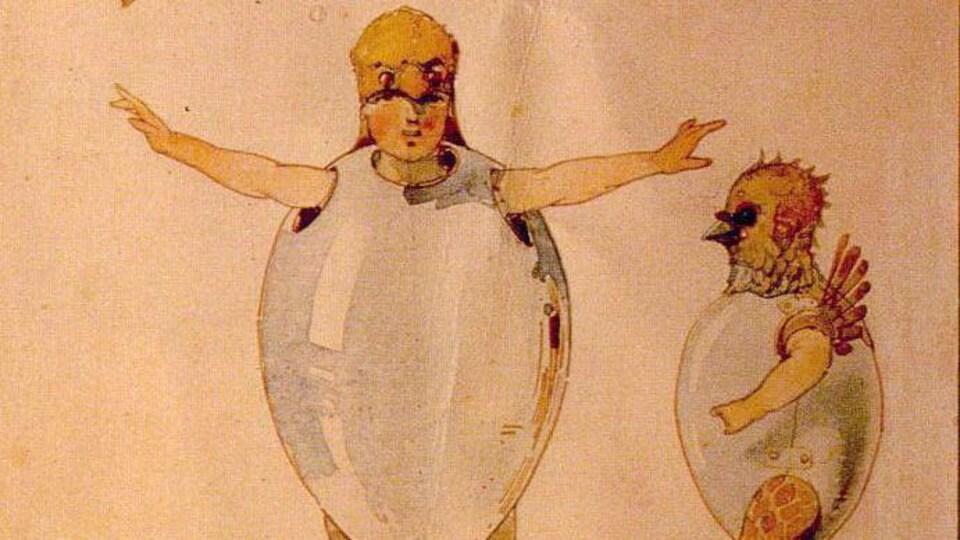Une aquarelle où on peut voir des danseurs en costume de poussins de face et de profil.