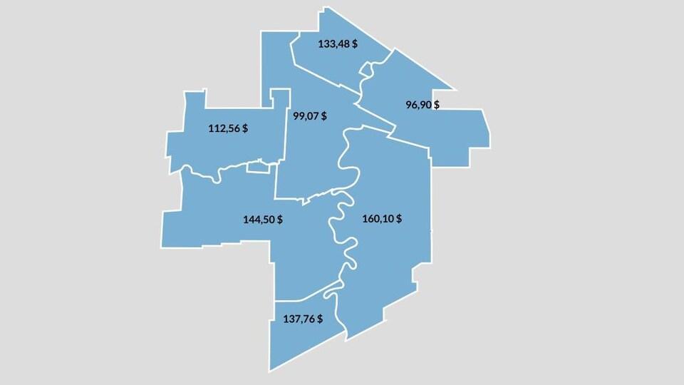 Combien le propriétaire foncier moyen dans chaque territoire scolaire payera de plus en 2015
