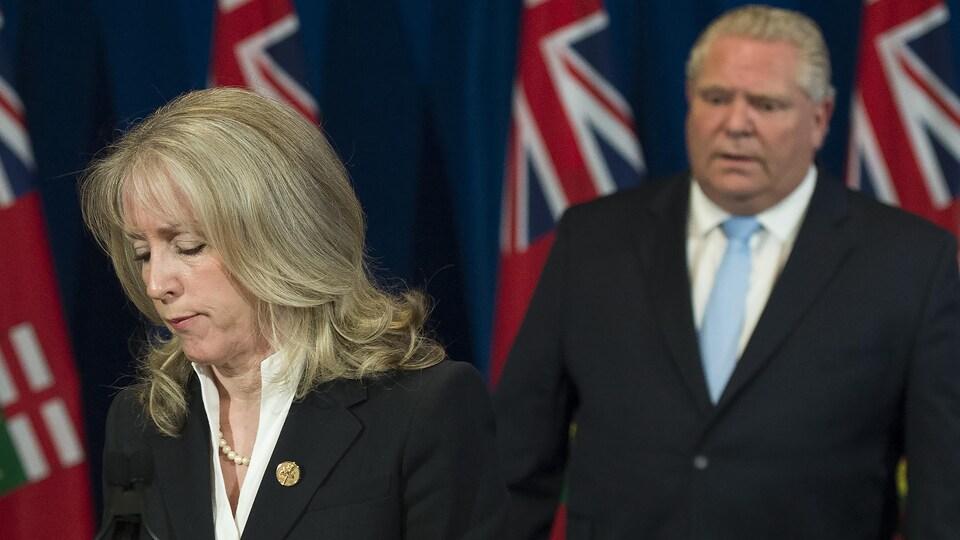 La ministre ontarienne des Soins de longue durée, Merrilee Fullerton, lors du point de presse quotidien de la province.