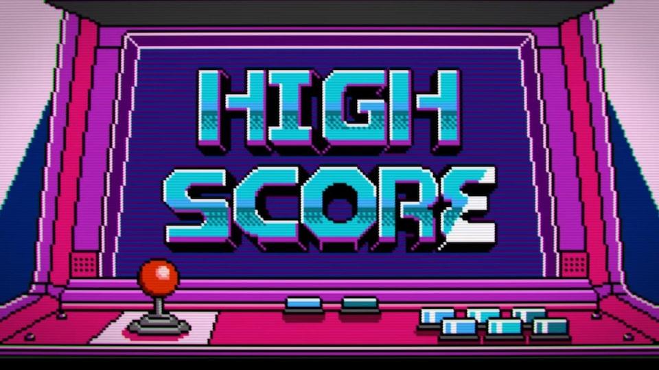 Le titre « High Score » est écrit sur un écran d'arcade, illustré avec le style 8 bits.