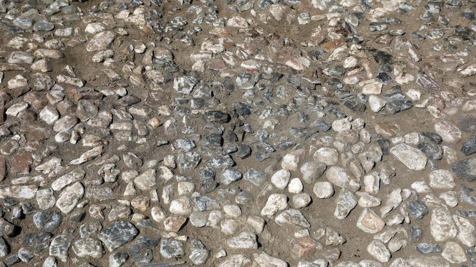 Un assemblage de pierres incrustées dans le sol.