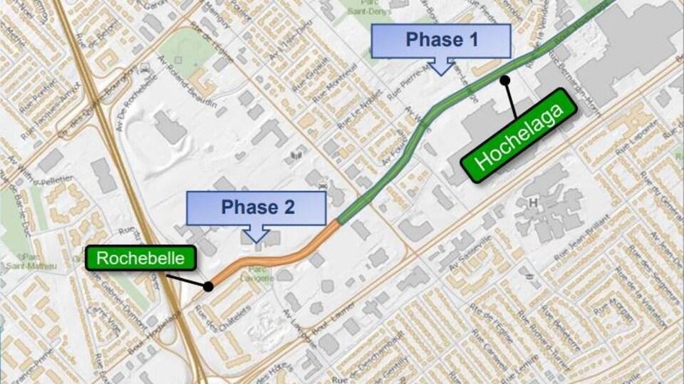Carte topographique du boulevard Hochelaga, derrière les centres commerciaux à Sainte-Foy.