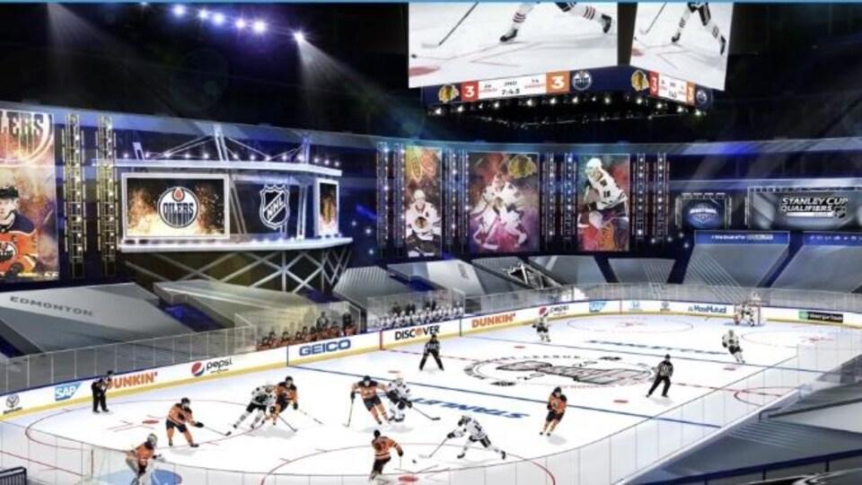 Des hockeyeurs sur la patinoire et personne dans les gradins.