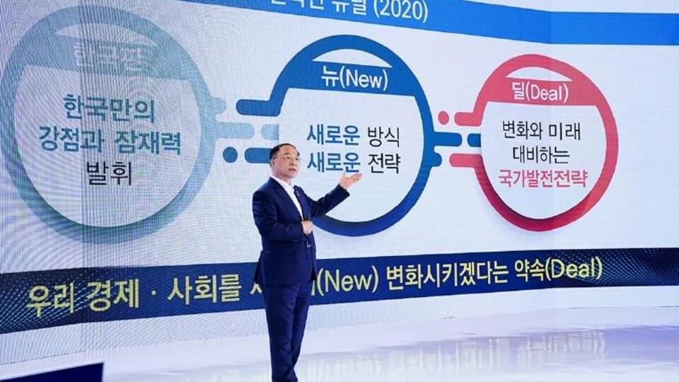 Hong Nam-ki devant un écran géant.