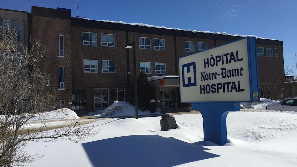 Vue hivernale de l'Hôpital Notre-Dame de Hearst.