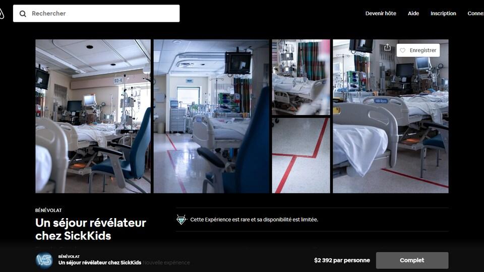 Une offre de chambre sur le site Airbnb, illustrée de photos de chambre d'hôpital.