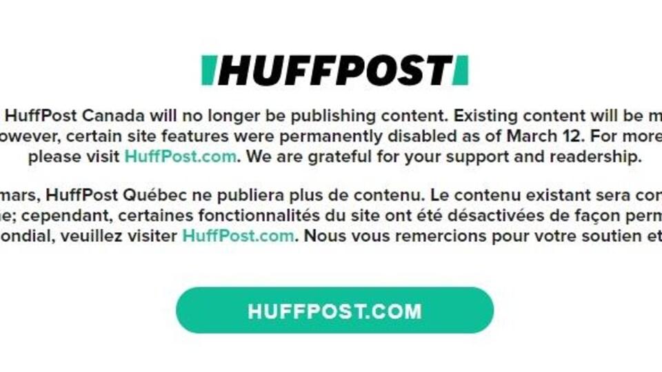 Capture d'écran du message d'accueil du site du HuffPost Québec.