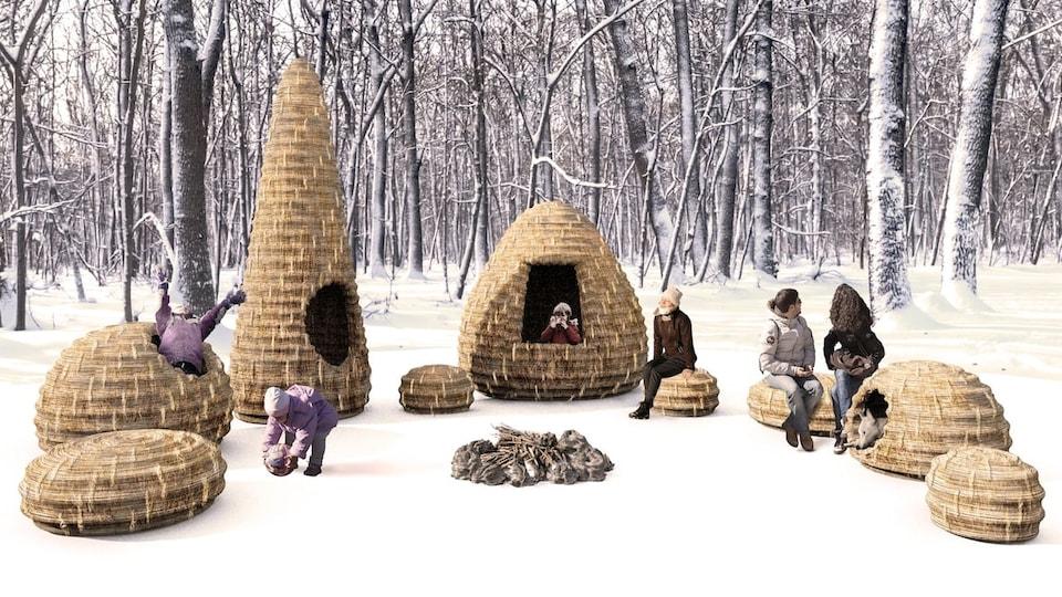 Une vue d'artiste de construction en bois qui ressemble à des essaims d'abeilles.