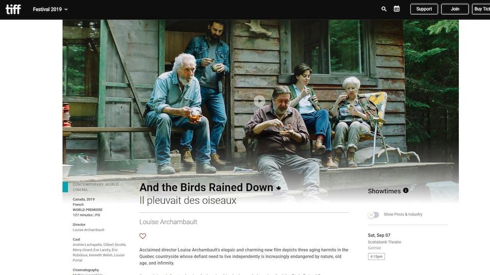 Page web du TIFF à propos du film Il pleuvait des oiseaux