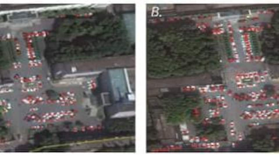 Images satellites d'un stationnement de l'hôpital Tianyou de Wuhan en octobre 2018 (à gauche) et octobre 2019.