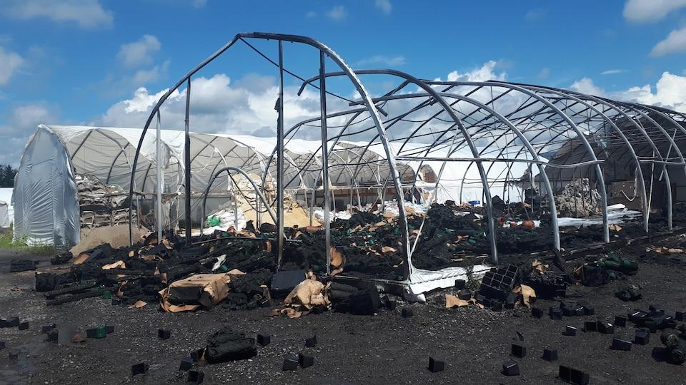 Les restes d'un abri temporaire détruit par les flammes.