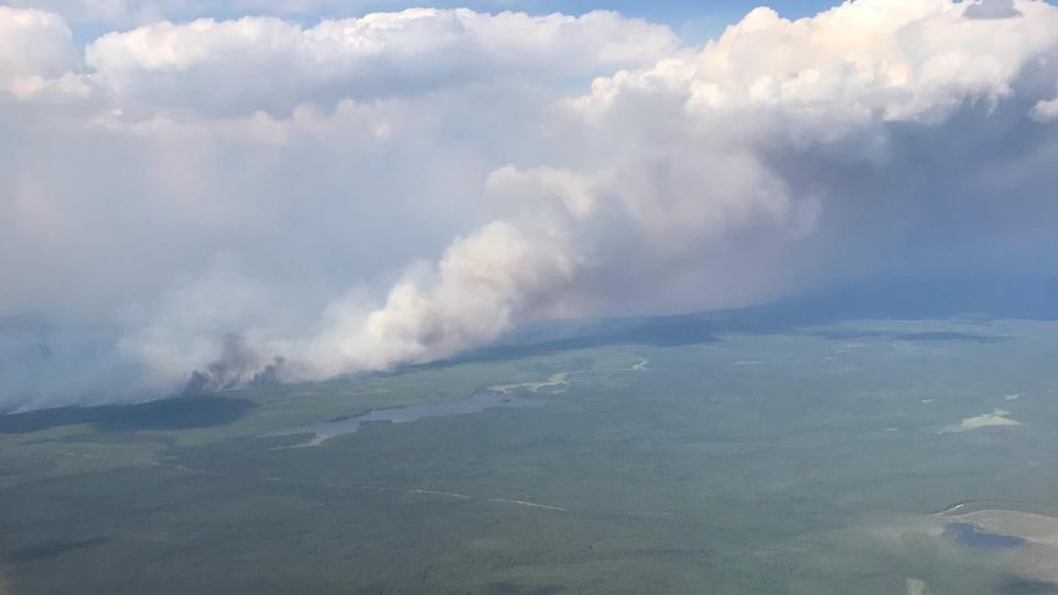 Photo d'un feu de forêt prise du ciel