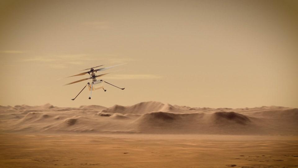 L'hélicoptère Ingenuity en vol.
