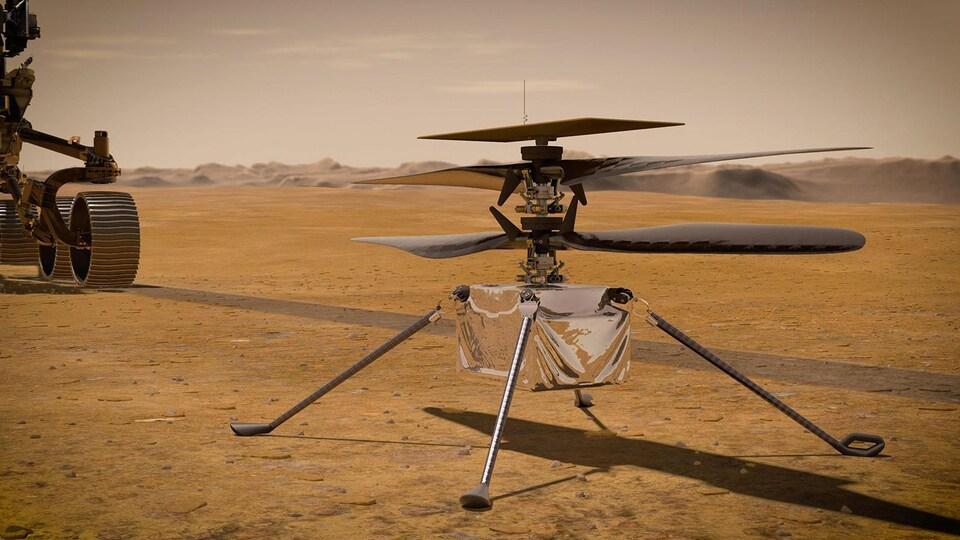 Une illustration fournie par la NASA de l'hélicoptère martien Ingenuity.