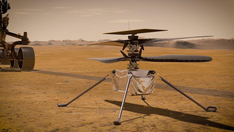 Illustration de l'hélicoptère Ingenuity.