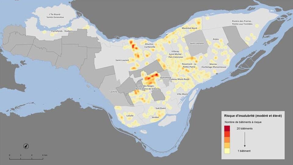 Une carte de Montréal montre où se trouve le plus grand nombre d'immeubles insalubres.