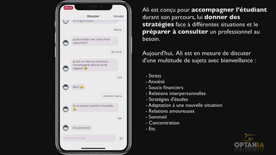 On voit l'application Ali, qui ressemble à une messagerie texte, ainsi qu'un texte explicatif.