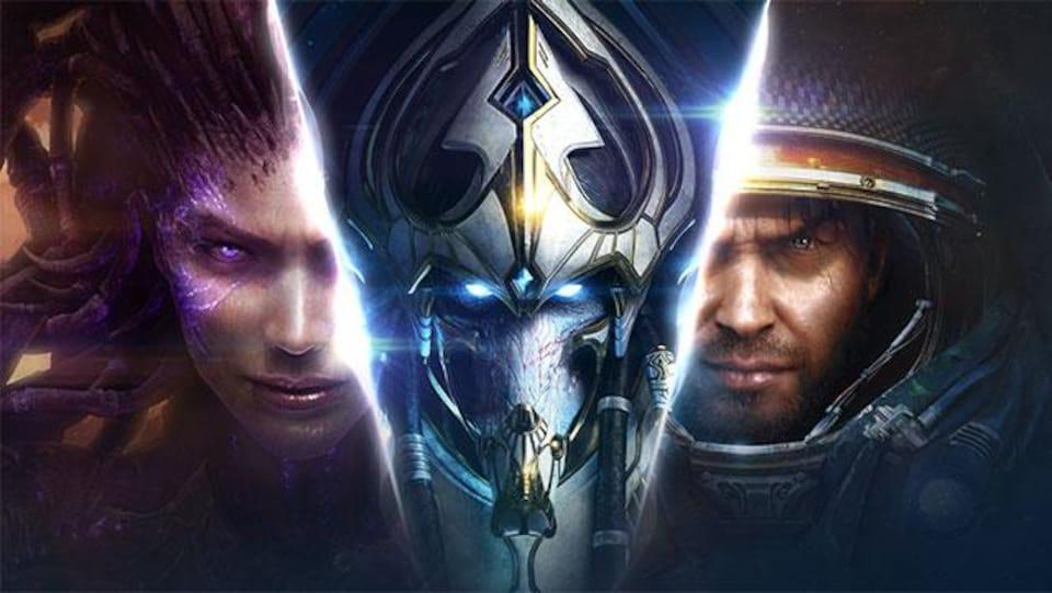 Image représentant les trois races que le joueur peut utiliser dans StarCraft II.