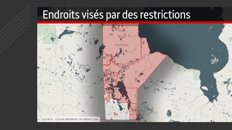 Une carte du Manitoba. Les zones en rouge sont celles visées par les restrictions pour limiter les risques de déclenchement de feux de forêt.
