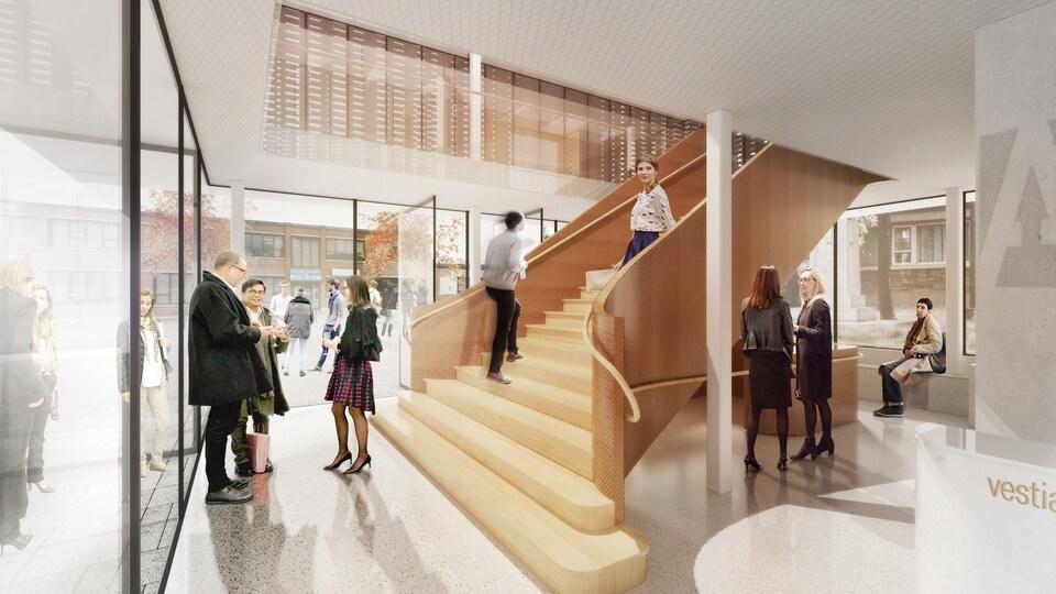Un plan de la future devanture de la salle de spectacle l'Agora des arts. Un grand escalier en bois occupera l'espace d'une cage en verre placée au devant du bâtiment.