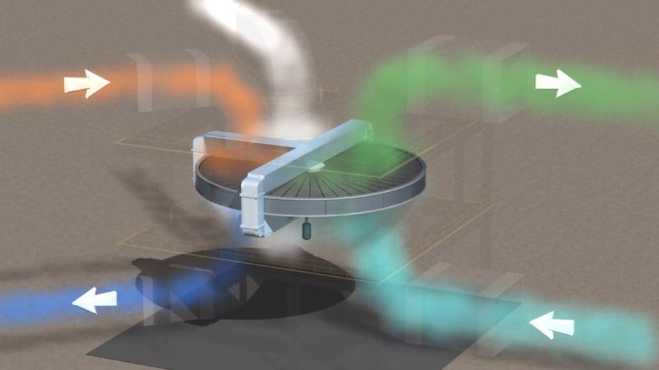 Une image de synthèse représente des fumées passant au travers d'une roue.