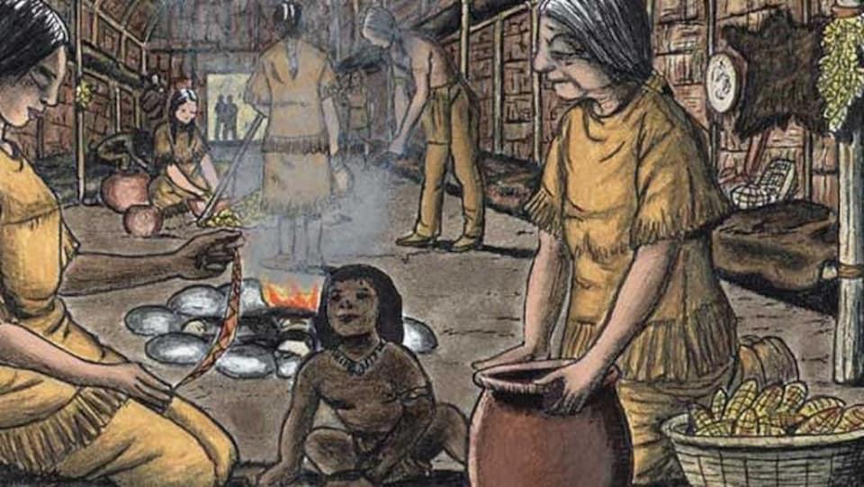 Dessin d'une scène quotidienne d'Iroquois dans une maison longue.