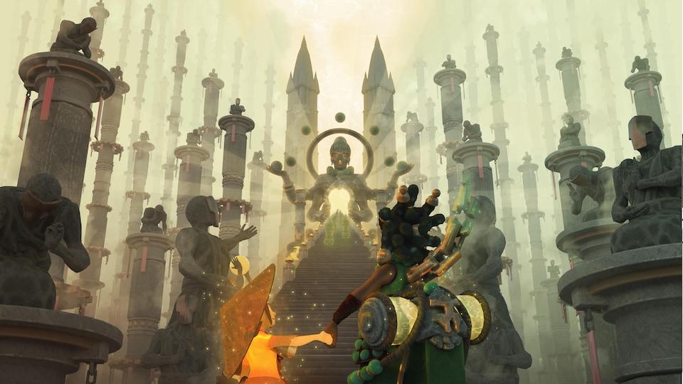 Un enfant tient la main d'une guerrière dans le jeu vidéo «Palaka».