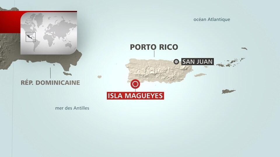 Une carte montrant la localisation de l'Isla Magueyes, à Porto Rico