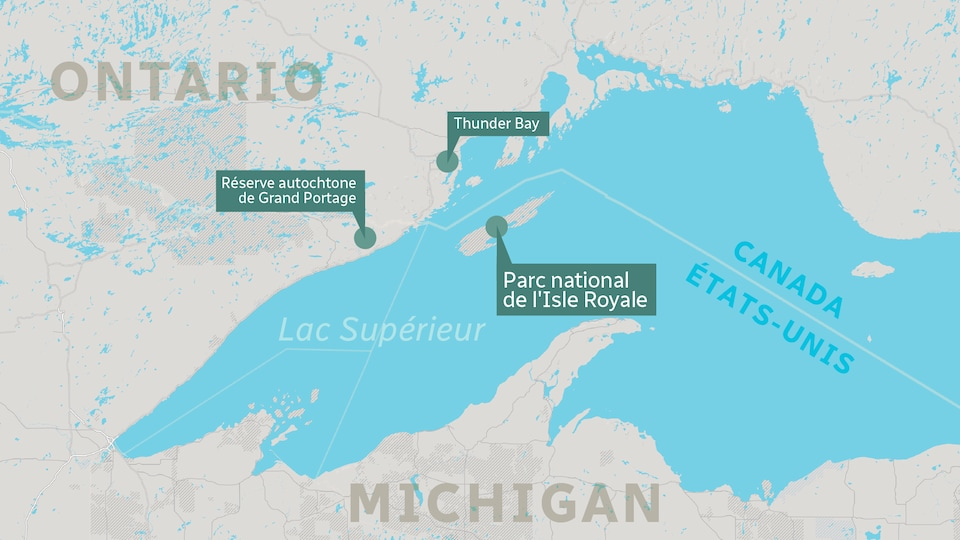 Une carte situant le Parc national de l'isle Royale