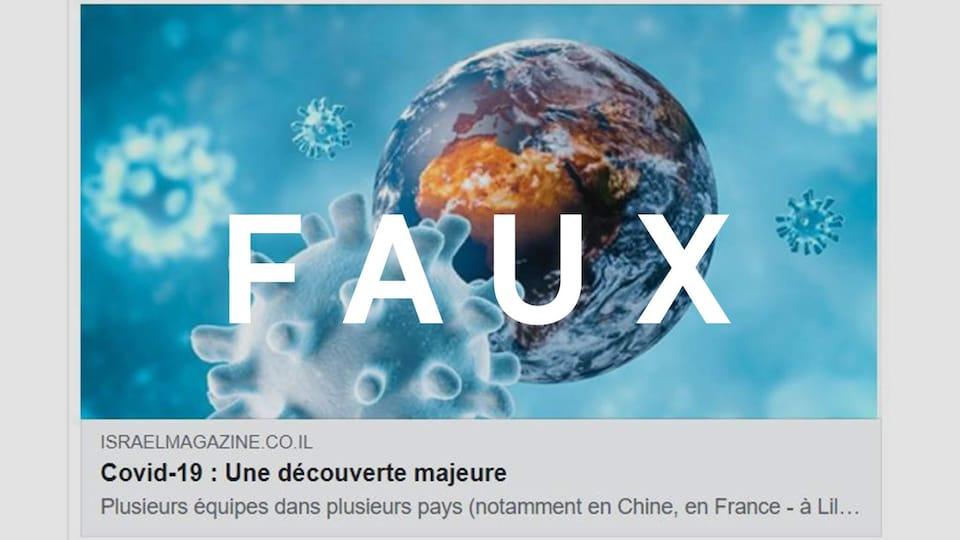 """Capture d'écran d'un lien partagé avec le titre """"Covid-19 : Une découverte majeure"""". Le mot FAUX est superposé sur l'image."""