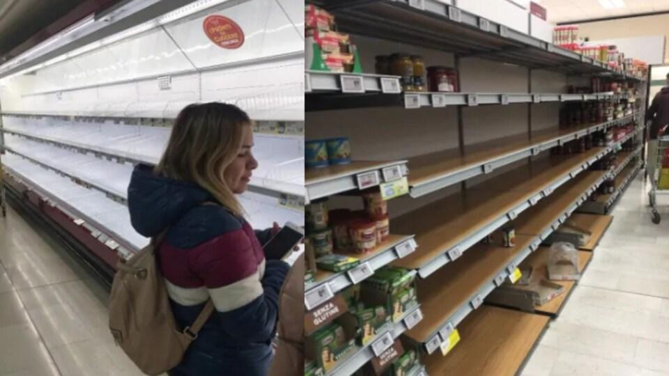 Des étagères et des comptoirs d'épicerie pratiquement vides.