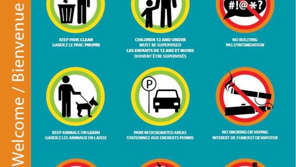 Une affiche qui indique ce qui est permis et ce qui n'est pas permis de faire dans les lieux publics comme les parcs.