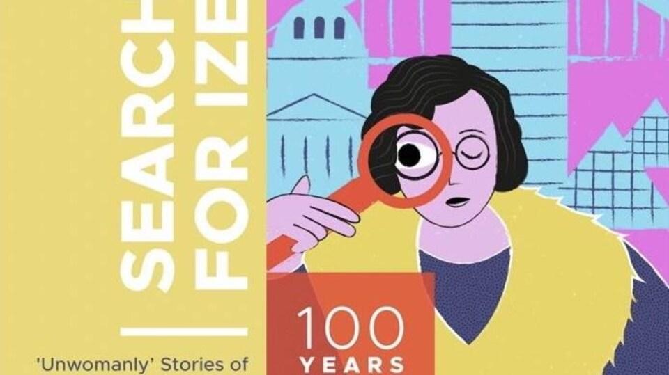 L'affiche du balado qui illustre Izena Ross qui cherche avec une loupe.