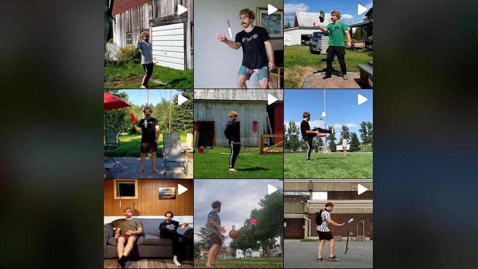 Plusieurs vidéos de format carré disposées sur le instagram de l'artiste.